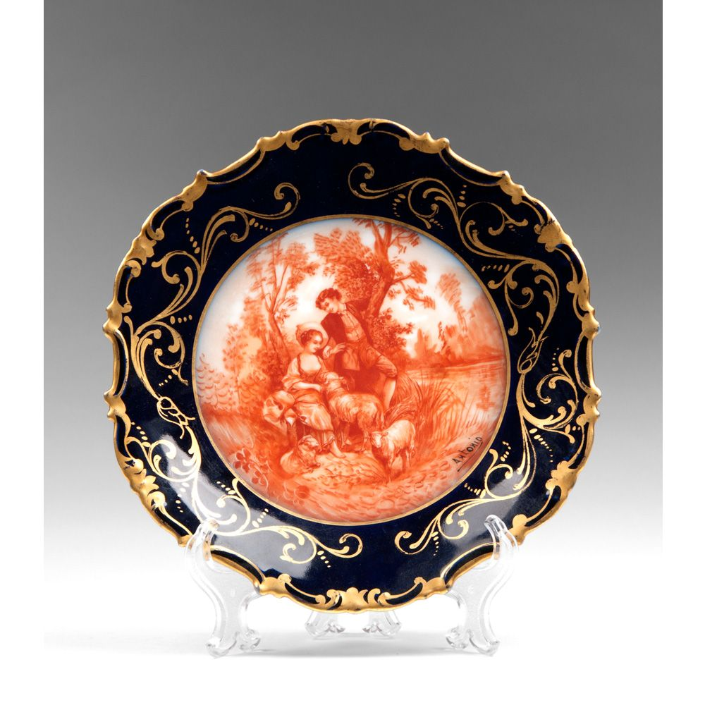 Michelaud Fres Limoges Sanguine Decorated Cabinet Plate