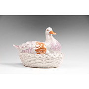SALE Early 19th C. Staffordshire Lustreware Duck On Nest