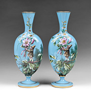 SALE Pair of Harrach Bohemian Opaline Glass Enamel Vases With Gnomes