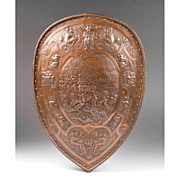 SOLD Late 19th C. Roman Style Repousse Bronze Shield