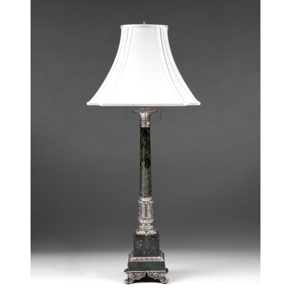 Mid 20th C. Green Marble And Silver Column Lamp
