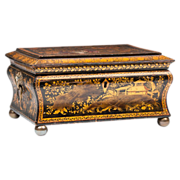SALE Chinese Export Black And Gilt Lacquer Sewing Box With Cover