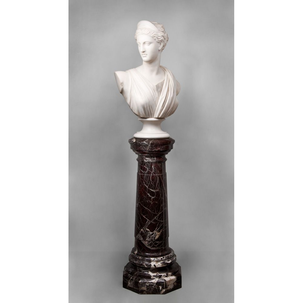Late 19th C. Italian Hand Carved Marble Bust of Diane With Pedestal