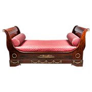 SALE 19th C. French Empire Mahogany Ormolu Mounted Sleigh Bed