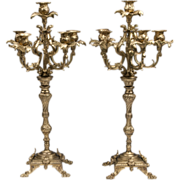 Pair of Late 19th C. Louis XV Style Bronze Candelabras, Six Lights