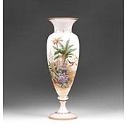 SALE 19th C. Bohemian Opaline Vase With Raised Enamel Landscape