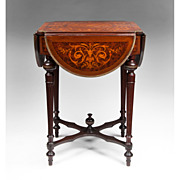 SALE Mid 19th C. Louis XVI Style Marquetry Hinged Specimen Writing Table