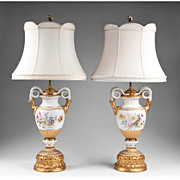 Pr. of Early 20th C. Meissen Snake Handle Vases Fitted As Lamps