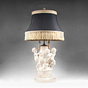 19th C. Italian Hand Carved Alabaster Sculpture Made As Lamp