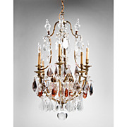 Late 19th C. Bronze And Crystal French Tiered Chandelier, 12 Lights