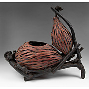 SALE Japanese Double Gourd Hyotan Basket Of Woven Bamboo