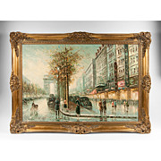 SOLD Oil On Canvas By Constantin Kluge, Parisian Street Scene