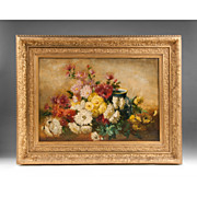 SALE Late Victorian Oil On Canvas Still Life Of Flowers