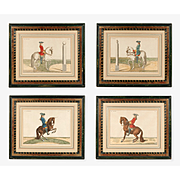 SALE Set of Four Hand Colored Prints Of Baron Eisenberg Horses