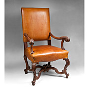SOLD Late 19th C. Louis XIV Style Walnut Carved Fauteuil à la Reine or Armchair