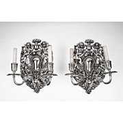Pair of Silverplate Two Light Sconces by E. F. Caldwell