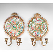 SOLD Pair of 19th C. Bronze Sconces Inset With Chinese Rose Medallion Plates