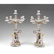 Pair Of Dresden Muller & Co. Porcelain Figural Candelabras