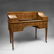 Maple & Co. Edwardian Painted Satinwood Carlton House Desk
