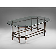 SALE Vintage Faux Bamboo Coffee Table With Glass Top
