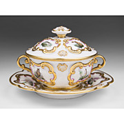 Continental Porcelain Ecuelle, Broth Bowl, Stand, And Cover