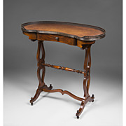 Early 20th C. Regency Style Kidney Shaped Writing Table