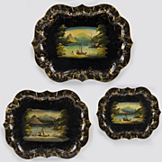 SALE Set of Three Matching Victorian Hand Painted Tole Trays
