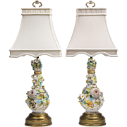 SALE Pair of Flower Encrusted Porcelain Vases Fitted As Lamps