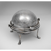 Early 20th C. Silver Plate Revolving Dome Butter Dish