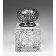 SALE French Baccarat Glass Inkwell, Silverplate Repousse Top