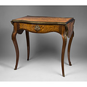 19th C. French Kingwood Writing Table With Floral Inlay, Drop Leaves