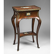 Mid 19th C. French Kingwood Table Ambulante Mounted With Sevres Plaques