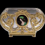SALE Baccarat Bowl With Ormolu Frame And Limoges Enamel Medallion