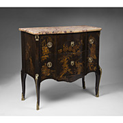 19th C. French Louis XV Style Chinoiserie Laquered Commode