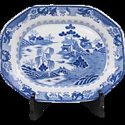 SALE Masons Patent Ironstone Blue & White Platter, Turners Willow