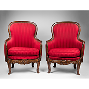 Pair of Late 19th C. Louis XV Bergeres Or Armchairs