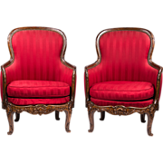 SALE Pair of Late 19th C. Louis XV Bergeres Or Armchairs