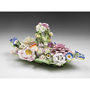 SALE 19th C. French Porcelain Flower Encrusted Inkstand Manner Of Jacob Petit
