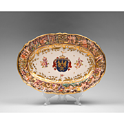 German Porcelain Heraldic Bas-Relief Capodimonte Style Oval Platter