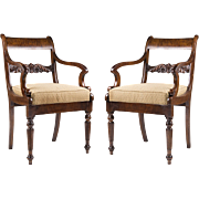 SALE Pair of 19th C. Tiger Maple Armchairs In The Federal Manner
