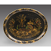 Mid 19th C. English Stenciled Landscape Tole Tray With Peacocks