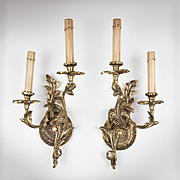 SALE Pair of Mid 20th C. Brass Louis XV Style Rococo Lighted Sconces