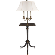 SOLD 19t C. English Stencil Painted Floor Lamp With Table