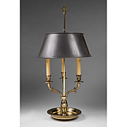 Early 20th C. French Brass Three Candle Bouillotte Lamp With Tole Shade