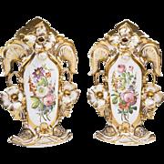 SALE Pair of Vieux Paris Porcelain Rococo Vases