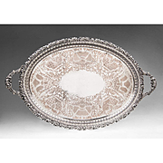 SALE Large Ellis and Company Pierced-Rim Silverplate Oval Tray
