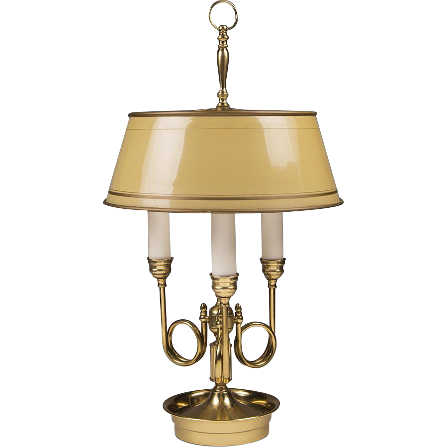 french horn bouillotte lamp with yellow tole shade. Black Bedroom Furniture Sets. Home Design Ideas