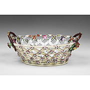 First Period Worcester Porcelain Botanical Pierced Basket, 1775