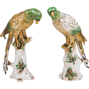 Pair of Late 19th C. Samson Porcelain Parrots, Gold Anchor Mark