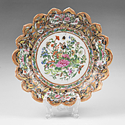 Chinese Export Lotus Flower Formed Rose Canton Dish